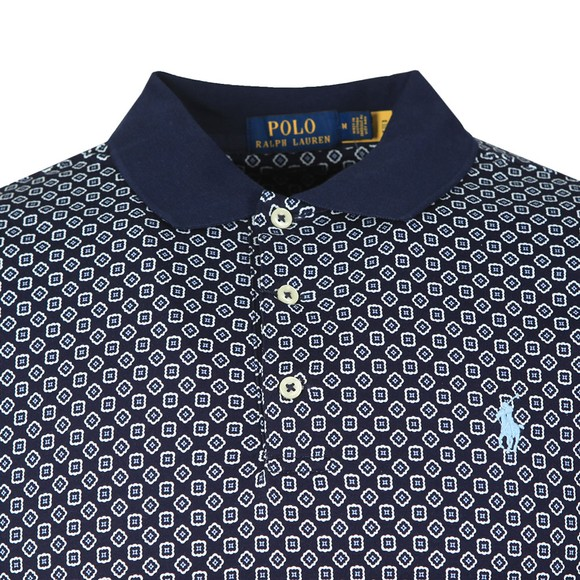 Polo Ralph Lauren Mens Blue Patterned Pima Cotton Polo Shirt