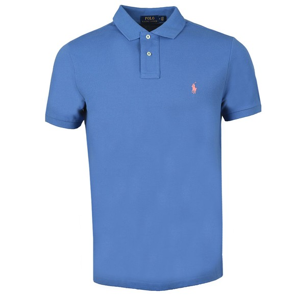Polo Ralph Lauren Mens Blue Custom Slim Fit Short Sleeve Polo Shirt