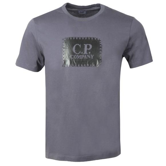 C.P. Company Mens Blue Large Box Logo T-Shirt