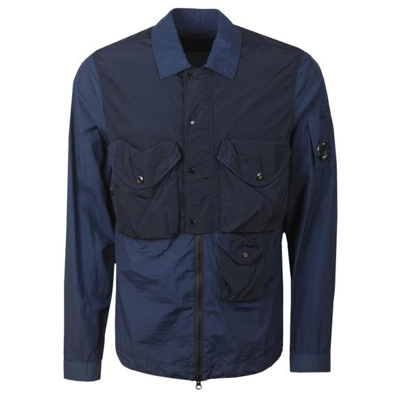 C.P. Company Mens Blue Nylon Double Pocket Overshirt
