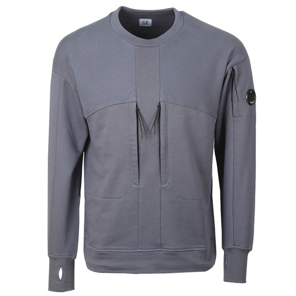 C.P. Company Mens Blue Double Chest Zip Pocket Sweatshirt