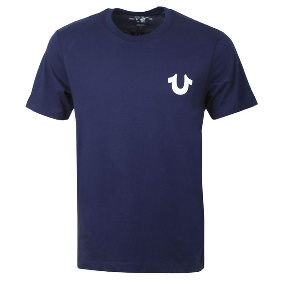 True Religion Mens Blue Crew Logo T-Shirt