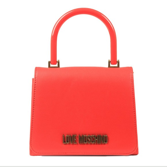 Love Moschino Womens Red Logo Top Handle Bag