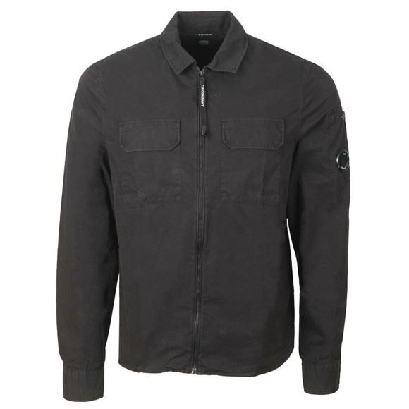 C.P. Company Mens Black Twin Chest Pocket Overshirt