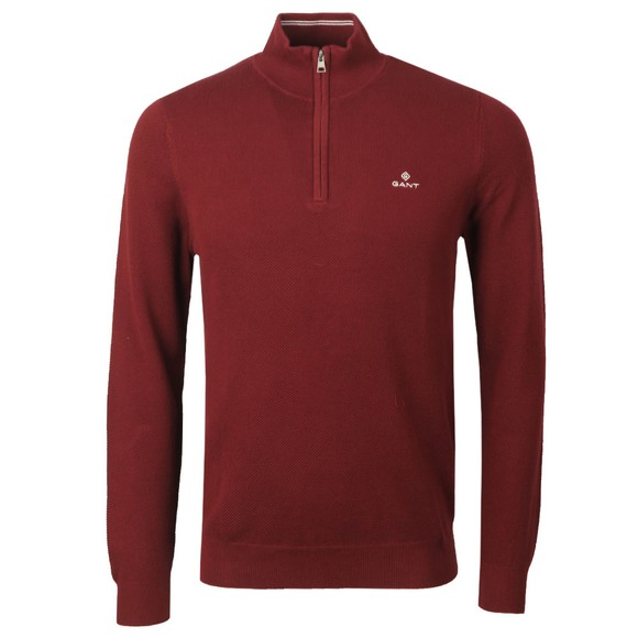 Gant Mens Red Cotton Pique 1/2 Zip