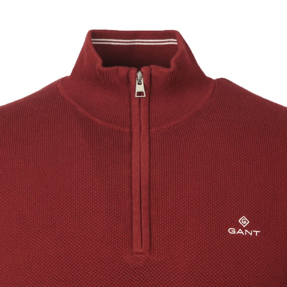 Gant Mens Red Cotton Pique 1/2 Zip