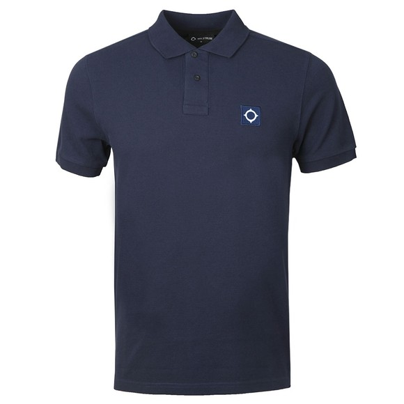Ma.Strum Mens Blue Pique Polo Shirt