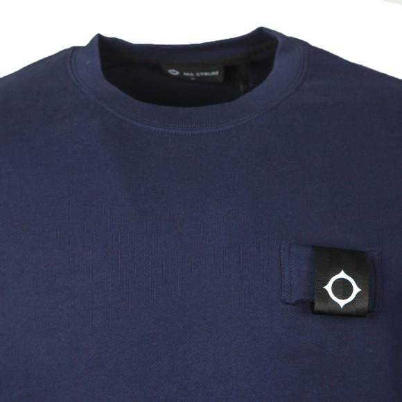 Ma.Strum Mens Blue Training Crew Sweatshirt