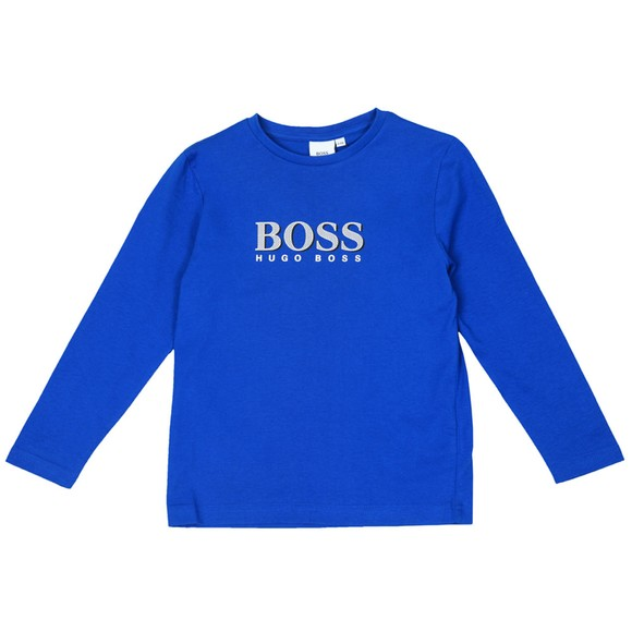 BOSS Boys Blue Large Logo Centre Logo T-Shirt
