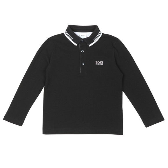 BOSS Boys Black Twin Tipped Long Sleeve Polo Shirt