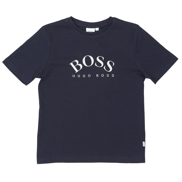 BOSS Boys Blue Large Curved Logo T-Shirt
