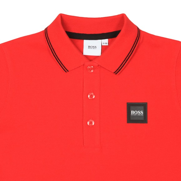 BOSS Boys Red Square Badge Polo Shirt