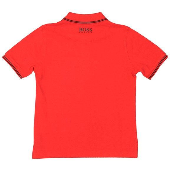 BOSS Boys Red Square Badge Polo Shirt main image