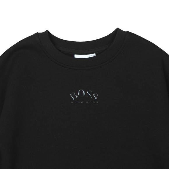 BOSS Boys Black Centre Curved Logo Sweatshirt