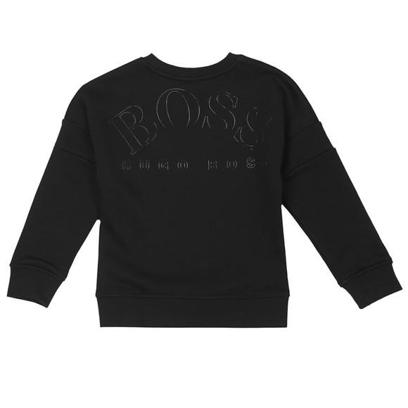 BOSS Boys Black Centre Curved Logo Sweatshirt main image