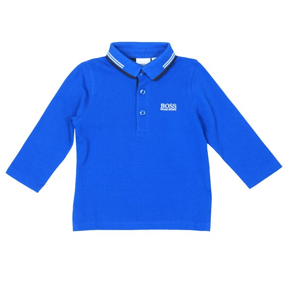 BOSS Boys Blue Twin Tipped Collar Polo Shirt