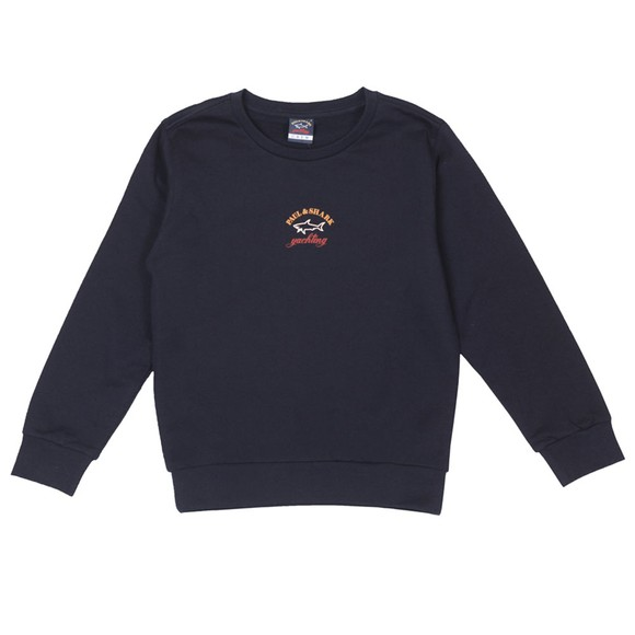 Paul & Shark Boys Blue Centre Logo Crew Neck Sweatshirt