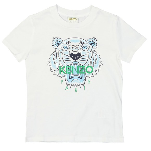 Kenzo Kids Boys White Boys Printed Tiger T-Shirt