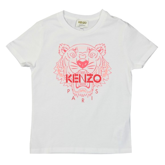 Kenzo Kids Girls White Girls Printed Tiger T-Shirt