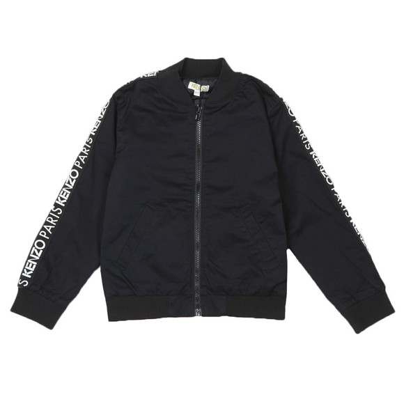 Kenzo Kids Boys Black Tape Logo Cotton Jacket