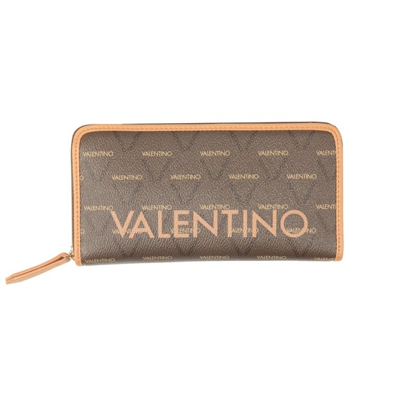 Valentino by Mario Womens Brown Liuto Zip Around Wallet