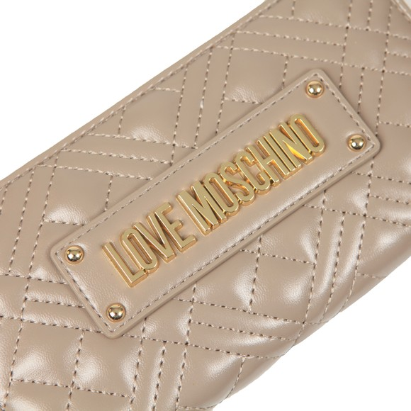 Love Moschino Womens Grey Cross Quilted Plaque Purse