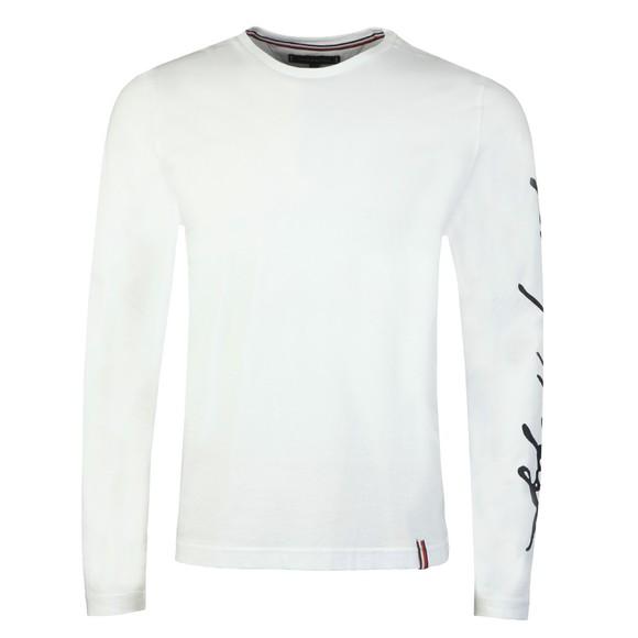 Tommy Hilfiger Mens White Signature Sleeve LS T-Shirt main image