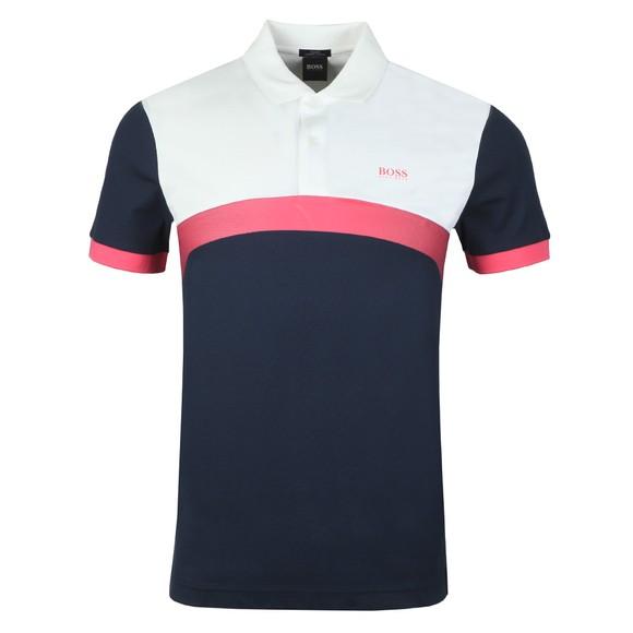 BOSS Mens Blue Athleisure Paule 3 Polo Shirt