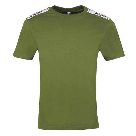 Moschino Mens Green Tape Shoulder T-Shirt