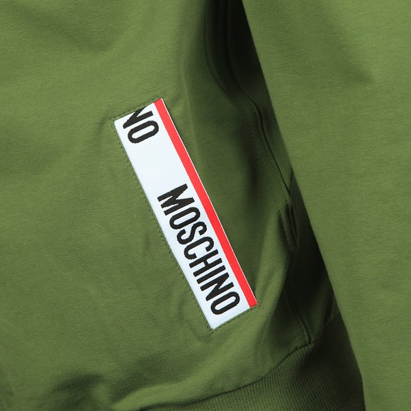 Moschino Mens Green Pocket Tape Full Zip Hoody