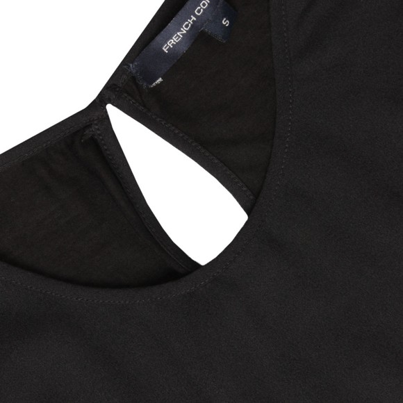 French Connection Womens Black Polly Plains Capped T-Shirt main image