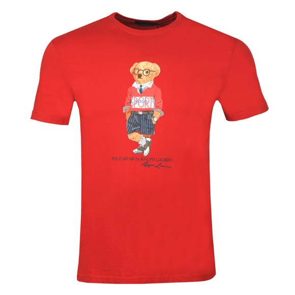 Polo Bear By Ralph Lauren Mens Red Scholarship Short Bear T-Shirt