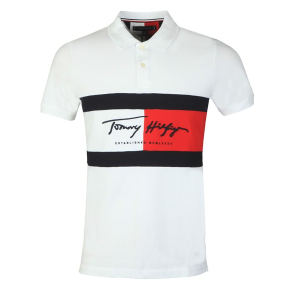 Tommy Hilfiger Mens White Autograph Flag Slim Polo Shirt main image