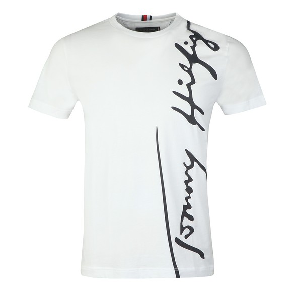 Tommy Hilfiger Mens White Cool Large Signature T-Shirt
