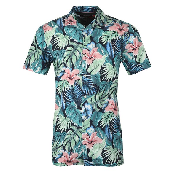 Tommy Hilfiger Mens Green Hawaiian Print SS Shirt
