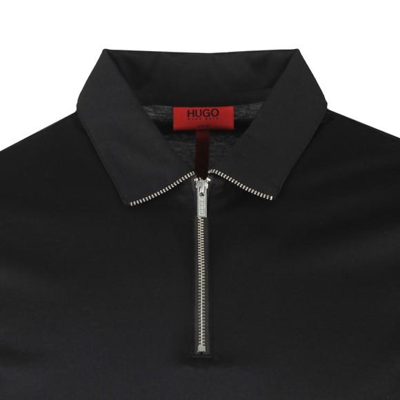 HUGO Mens Black Dasili Zip Polo Shirt