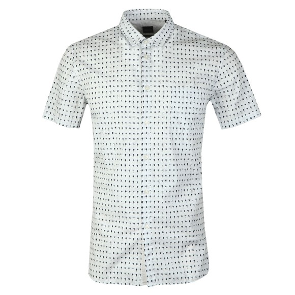 BOSS Mens White Casual Magneton Ink Dot Shirt