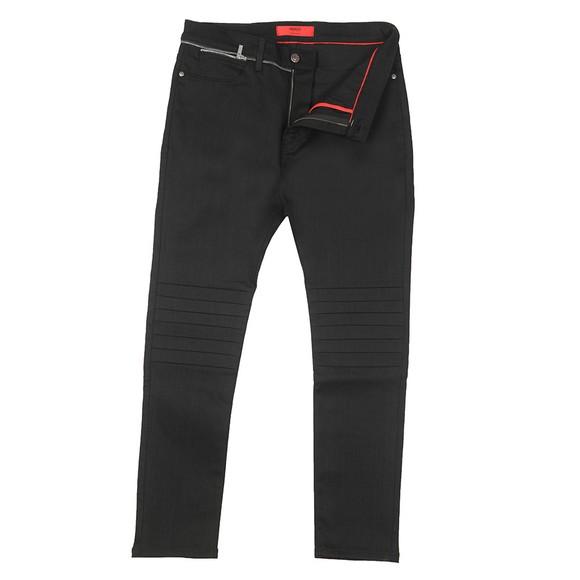 HUGO Mens Black Extra Slim Fit Zip Waist Jean