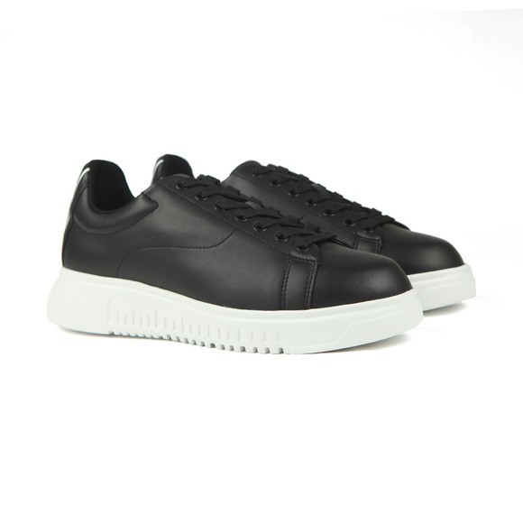 Emporio Armani Mens Black Back Logo Leather Trainer