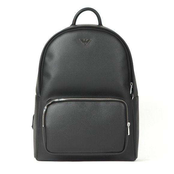 Emporio Armani Mens Black Metal Logo Backpack