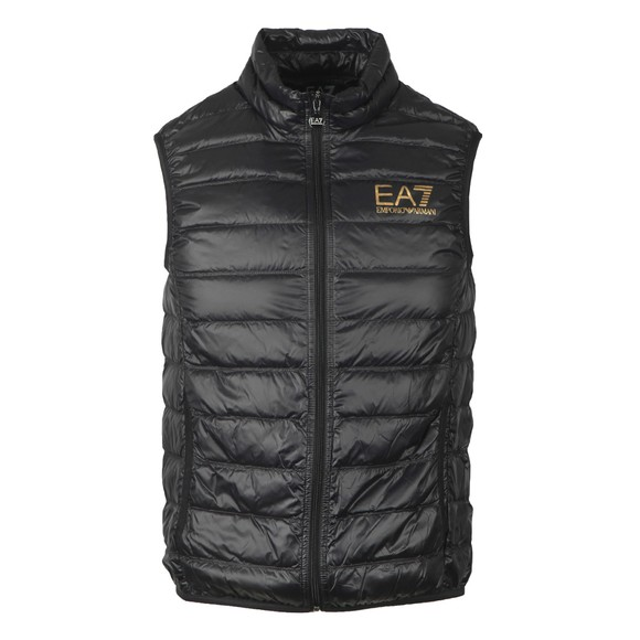 EA7 Emporio Armani Mens Black Small Logo Down Gilet