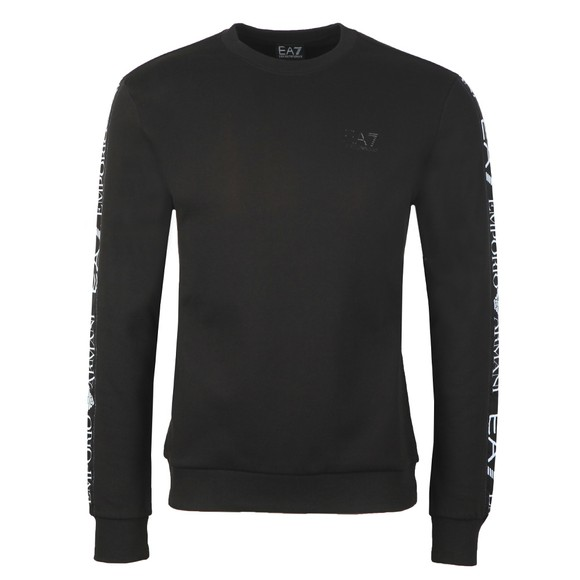 EA7 Emporio Armani Mens Black Taped Arm Sweatshirt