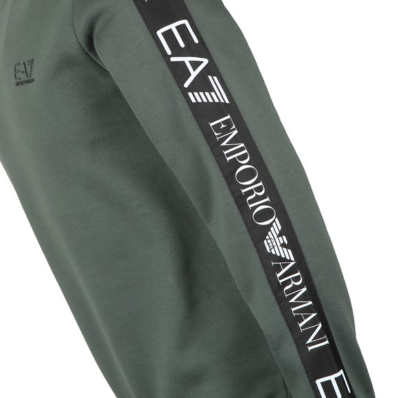 EA7 Emporio Armani Mens Green Taped Arm Sweatshirt