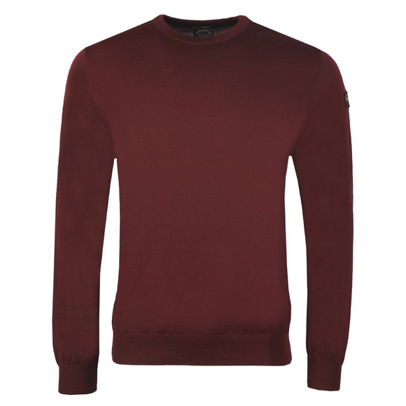 Paul & Shark Mens Red Fine Merino Wool Crew Jumper