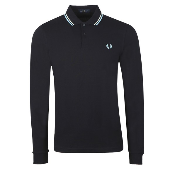 Fred Perry Mens Blue L/S Tipped Polo Shirt