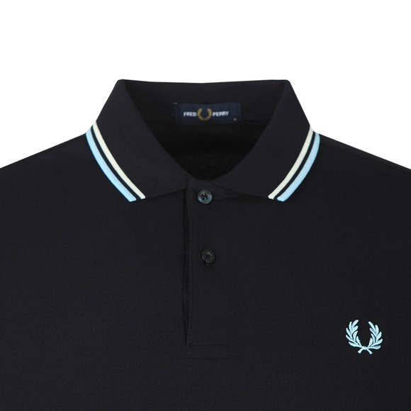 Fred Perry Mens Blue L/S Tipped Polo Shirt main image