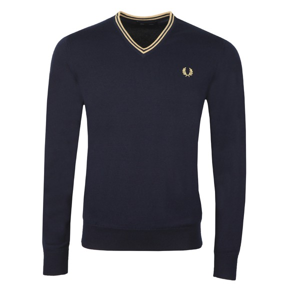 Fred Perry Mens Blue Classic V Neck Jumper
