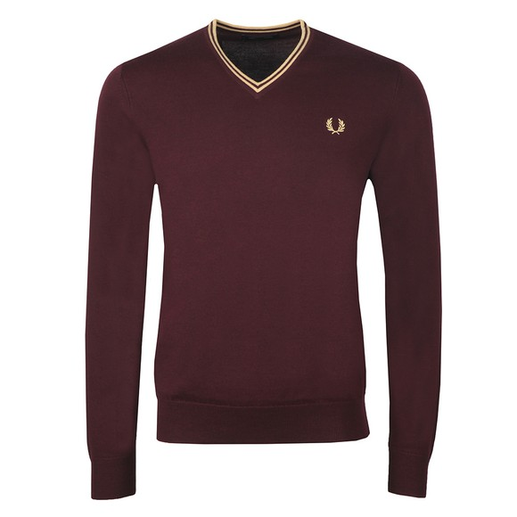 Fred Perry Mens Purple Classic V Neck Jumper