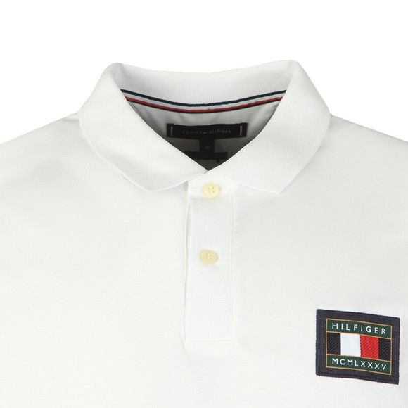 Tommy Hilfiger Mens White Icon Badge Polo Shirt