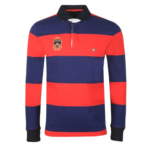 Tommy Hilfiger Mens Red L/S Varsity Block Strip Rugby Shirt